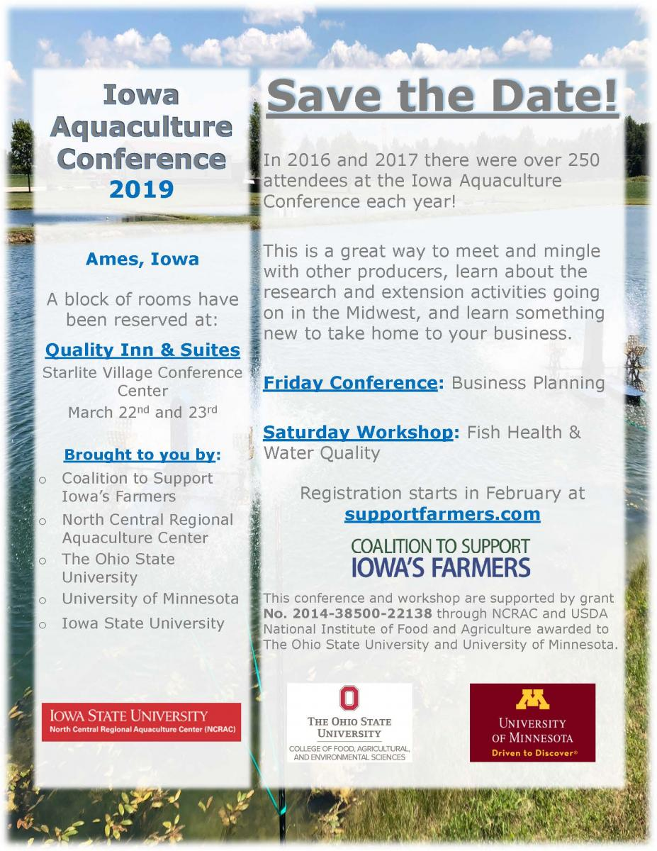 Iowa Aquaculture Conference 2019 Save the Date