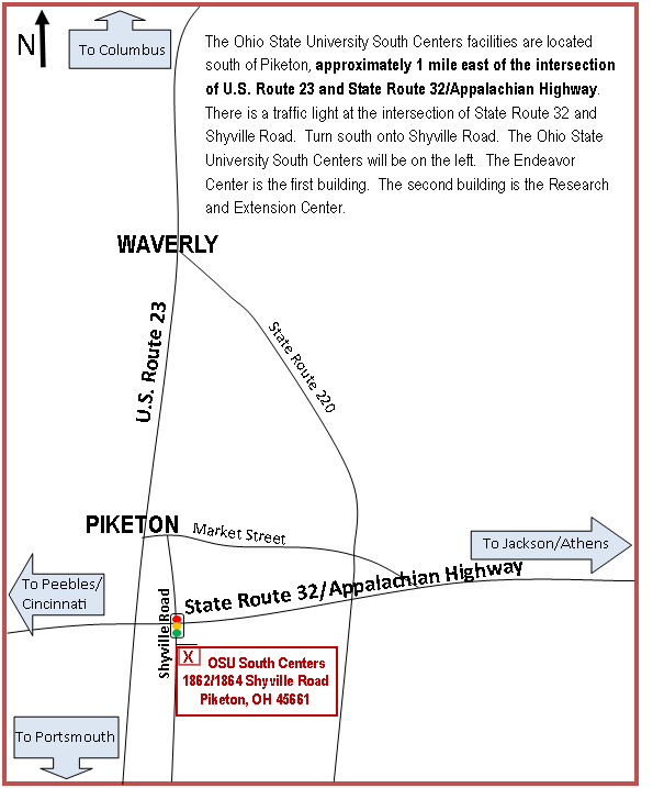 Map to OSU South Centers