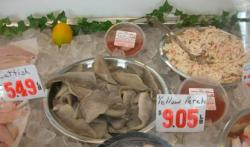 Seafood case at retail market