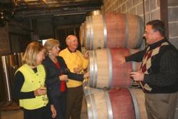 People looking at wine barrels
